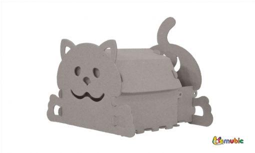 cardboard house drawer kitten